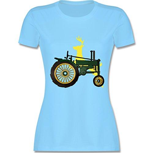 Landwirt Traktor Hirsch Deere tailliertes Premium TShirt mit  Rundhalsausschnitt für Damen Hellblau