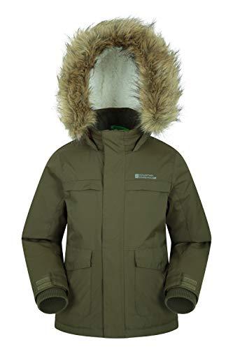 Mountain Warehouse Samuel Kinder Wasserabweisende Winterjacke -Parka- Kinderjacke Khaki 98 (2-3 Jahre) - Winter Jacke Kinder