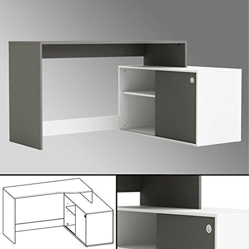 Eck - Schreibtisch WEISS ANTHRAZIT 241 Schiebetür Computertisch PC grau Bürotisch