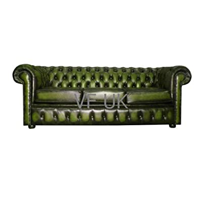 Chesterfield Antique Green Genuine Leather 3 Seater Sofa from Chesterfield