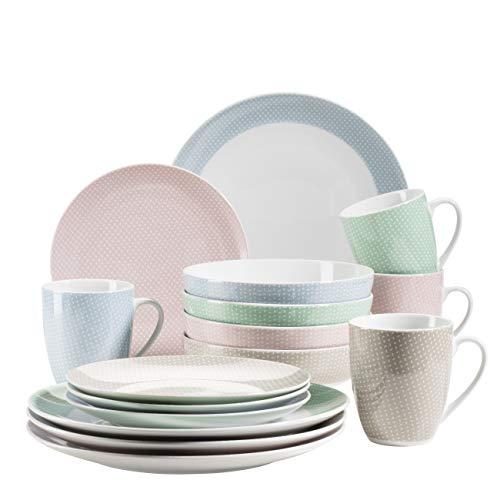 MÄSER 931484 Kitchen Time II Geschirr-Set für 4 Personen, 16-tlg buntes Kombiservice in Pastellfarben mit dezentem Muster, Porzellan