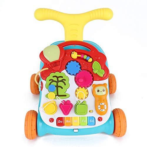 CHAOLIU Sit-to-Stand Learning Walker, 2-in-1 Aktivität Kleinkind und Baby Walker - sitzend oder Walk-Behind Position, einfach zu Falten, Spaß Spielzeug und Aktivitäten für Baby Mädchen oder Junge,Red -
