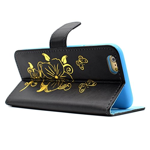 GHC Cases & Covers, Für iPhone 6 & 6s Bronzing Butterfly Pattern Horizontale Flip PU Ledertasche mit Halter & Card Slots & Wallet ( Color : Gold ) Black