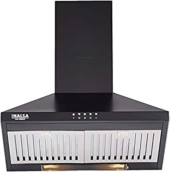 Inalsa 60cm, 950 m³/hr Kitchen Chimney Brio 60 BKBF With Stainless Steel Baffle Filter(Black)