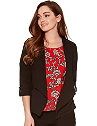 M&Co Ladies Petite Size Tabbed Three Quarter Length Sleeve Open Edge To Edge Crepe Jacket
