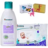 Himalaya Herbals Baby Massage Oil (200ml)+Himalaya Herbals Gentle Baby Wipes (72 Sheets) With Happy Baby Luxurious Kids Soap With Toy (100gm)
