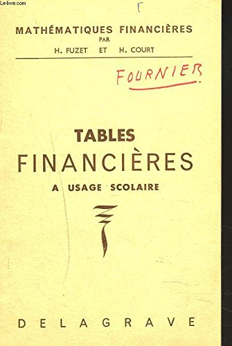 MATHEMATIQUES FINANCIERES. TABLES FINANC...