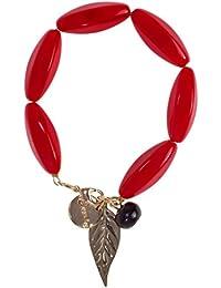 Desigual - Pulsera mujer roja con hoja