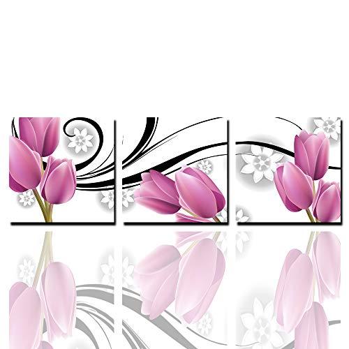 Print Tulip Rock (Unbekannt 3 Panels Leinwand Bild-Artwork Einfache Mode-Tulip-Bild-Print Auf Leinwand Auf Dem Wand-Wohnzimmer Schlafzimmer Büro Dekoration Kunstwerk 40Cmx40cm × 3Pcs)