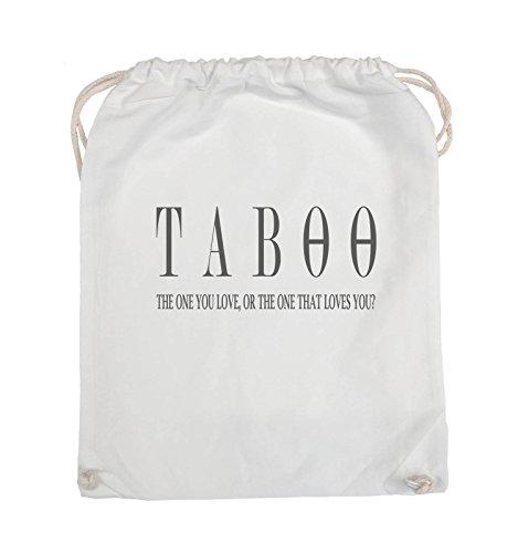 Comedy Bags - TABOO - LOGO2 - Turnbeutel - 37x46cm - Farbe: Schwarz / Silber Weiss / Grau