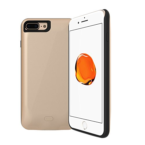CaseforYou Batteriefach Hülle iPhone 7 Plus 7500mAh Taschen Schalen Akkus Rechargeable External Battery Backup Protective Case Power Bank Charger Cover Batteria Schützend Batterie-Schutz für iPhone 7  golden