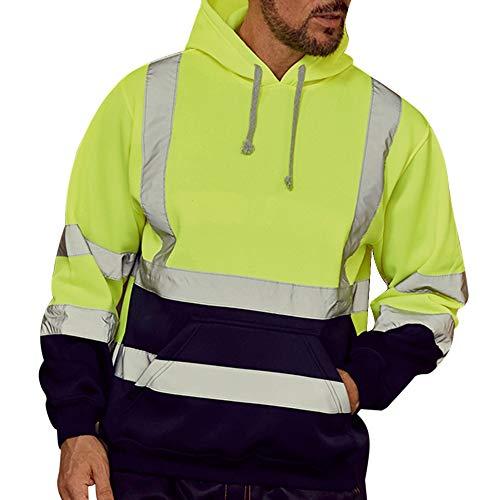 Dihope, Herren-Sweatshirt, Kapuze, hohe Sichtbarkeit, Langarm-Pullover, reflektierend, Arbeitskleidung, warm, Sweatshirt, Sicherheitsjacke Gr. Medium (Hersteller Größe Large), neon Green