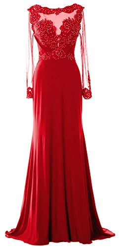 MACloth Women Long Sleeve Beaded Lace Mother of Brides Dress Formal Evening Gown red