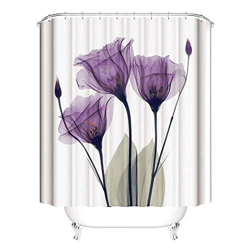 JANRON-Shower Curtains Duschvorhang Anti-Schimmel, Anti-Bakteriell, PEVA Wasserdichter Badvorhang mit 12 Haken Umweltfreundlich Waschbar - Lila Blumen 150CM / 180CM / 200CMX200CM