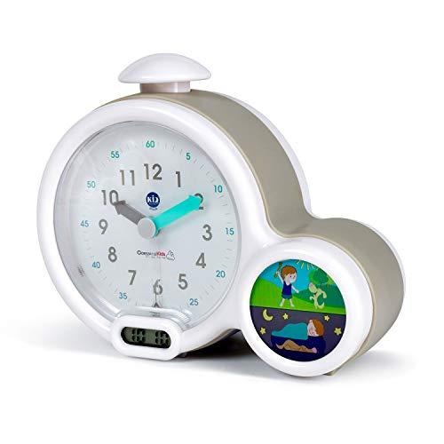 Pabobo Kid Sleep - Wecker - pädagogische Kinderwecker Tag/Nachtlicht - Doppelanzeige und 3 Alarme zu wählen - funktioniert auf Gleichstrom oder Batterien - Grau