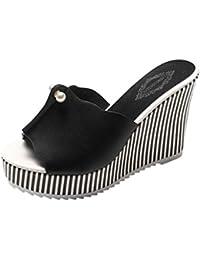 SHANGXIAN zapatillas antideslizantes de tacón alto de las mujeres de la cuña de la sandalia , red , 34