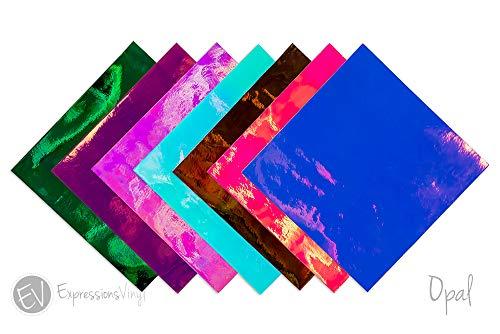 Expressions Vinyl - Holographic Opal Collection - Opal Vinyl Selbstklebende Permanent Vinylfolien, 30,5 x 30,5 cm, perfekt für Cricut & Silhouette Cameo Craft Cutter - Enthält 8 Blatt