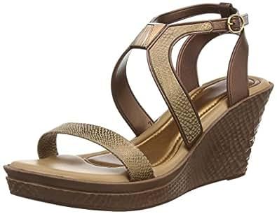 Grendha Allure Wedge femmes Flip Flops / Sandals - Bronze Snake - SIZE EU 38