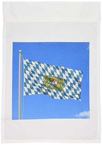 3dRose FL_157039_1 Flagge Bayern auf Fahnenmast mit blauem Himmel, Bayerische Gartenflagge, 30,5 x 45,7 cm Bayerischen Rose