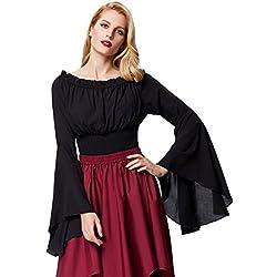 Belle Poque Blusa para Mujer Halloween Retro Gótico Victoriano Suave Negro Tamaño L/XL