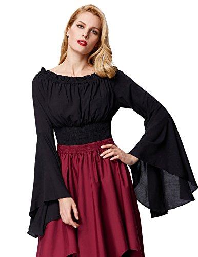 Gothic Bluse Damen Mittelalter Bluse Gothic Tops Schwarz Größe S (Mittelalterliche Kostüm Korsett)