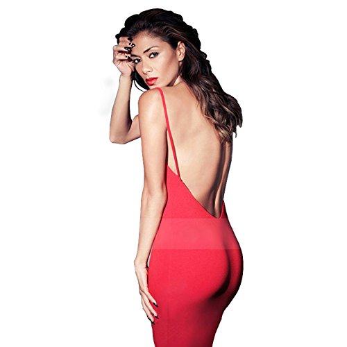 moxeay® Frauen Sexy Rückenfrei Rückseite Halfter Gurt Figurbetont Kleid M rot (Square Halfter)