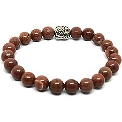 Auténtica jaspe rojo Buda pulsera piedras preciosas procedente de fuente ~ Charka curación Yoga Meditación joyas ~ en caja de regalo