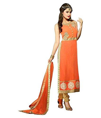 BMR Women's Orange Color Georgette Semi Stitched Salwar Suit Sets