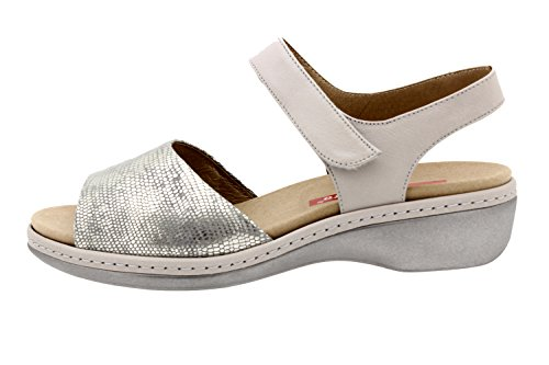 Scarpe donna comfort pelle Piesanto 8807 sandali soletta estraibile comfort larghezza speciale Gris