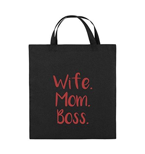 Buste Comiche - Moglie Mom Boss - Borsa In Juta - Manico Corto - 38x42cm - Colore: Nero / Rosa Nero / Rosso