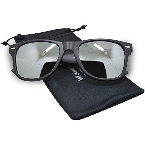 WHCREAT Wayfarer Unisex Polarisierte Sonnenbrille Federscharnier Matt Rahmen UV 400 Schutz Linse für Männer Frauen - Matt Schwarz Rahmen Silber Linse
