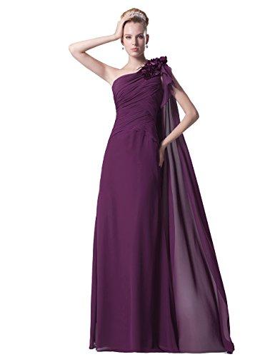 Dresstells, A-line Robe de Demoiselle d'Honneur, Longueur ras du sol, Épaule asymétrique Pourpre