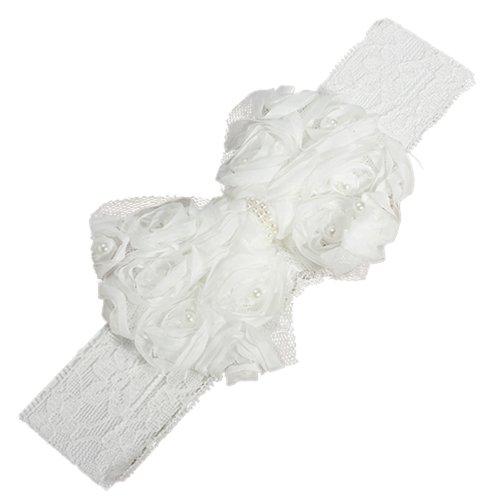 Bébé Enfant Fille Perle Bandeau Rose Dentelle Hairband Fleur Coiffure (Blanc)