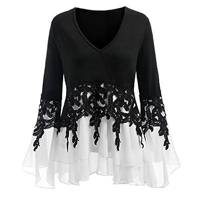 MOIKA Mode Damen Herbst und Winter Schulterfrei Oberteile T Shirt Plus Size Blumendruck Bluse Casual Tops Applique Flowy Chiffon V-Ausschnitt Langarm Bluse Tops