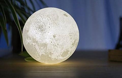 Nachttischlampe Weiss 3D LED Mondlampe | Led Tischleuchte Dimmbar | Led Tischleuchte Modern | Tischlampe Touch | Lampe Für Kinderzimmer