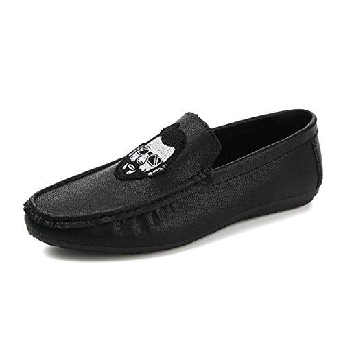 HENGJIA Herren Klassische Loafers Freizeitschuhe Schlupfhalbschuhe Bequeme Fahrerschuhe A87 Schwarz