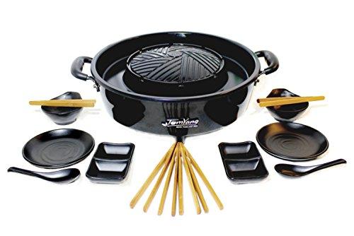 TomYang BBQ inkl. Premium Zubehör für 2 Personen - Original Thai Grill und Hot Pot. Die gesunde Schlankmacher-Küche aus Fernost als Tischgrill, Elektrogrill und Asia Fondue