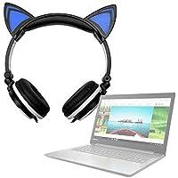 DURAGADGET Auriculares Plegables estéreo con diseño de Orejas de Gato en Color Negro para Portátil Lenovo
