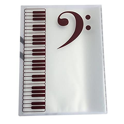 Myckuu Music Folder -Themed 20 Pockets Plastic Folder Display Book Soft Cover -Music Themed Keyboard Design PVC Ring Binder (Clear)