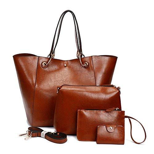 Ephraim Damen Handtasche Mode PU Leder Handtasche + Schultertasche + Geldbörse + Kartenhalter 4pcs Tote Bag Purse