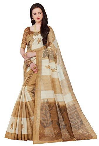 DESIGN WILLA Women's Cotton Saree With Blouse Piece (Cotton Silk10, Multicolor, Free...
