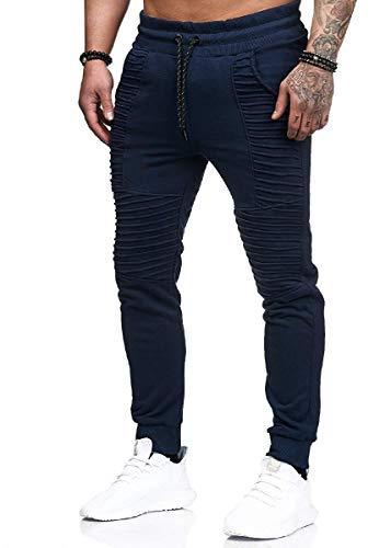 CuteRose Men Drawstring Solid Tapered Work Pant Hiphop Dance Tracksuit Bottoms Navy Blue L Navy Blue Corduroy Pants