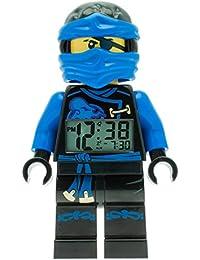 LEGO Ninjago Sky Pirates Jay Kinder-Wecker mit Minifigur und Hintergrundbeleuchtung | blau/schwarz | Kunststoff | 24 cm hoch | LCD-Display | Junge/ Mädchen | offiziell