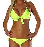 ALZORA Neckholder Damen Bikini Push Up Set Top und Hose Auswahl Farben , 10344 (XS, Neongelb)