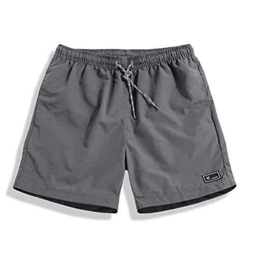 BOLANQ Jeans Hosen für männer, Herren Sommer Plus Size Dünne, schnell trocknende Strandhose Lässige Sporthose(XXXXX-Large,Grau)