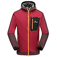 Cestlafit Soft Shell Jackets for Men, Windproof Water-Resistant Outdoor Soft Shell Army Jacket, Long Sleeves Hooded Breathable Windproof Jacket Running, Burgundy, CSJ1BG-M