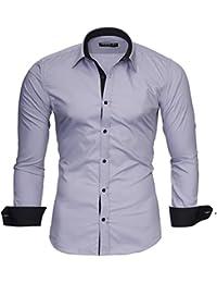MERISH Slim Fit Hommes Chemise à manches longue Bicolore Chemise Business Modell 203