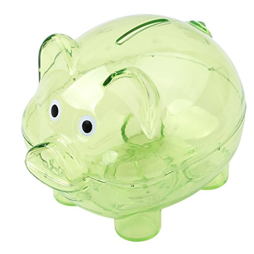 ODN Sparschwein aus Kunststoff Transparent Kreatives Schwein Form Spardose für Kinder (Grün)