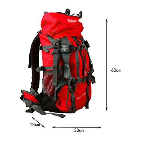 zaino trekking Outdoor Zaino Sport alpinismo Uomini borsa e Donne Travel Tracolla grande capienza viaggio zaino 50 +5 L Zaini da escursionismo ( Colore : Rosso ) Arancia