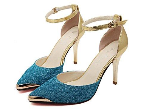 Chaussures d'été pointé à air de côté de couleur métal sort Qu'asakuchi talons très bien avec les sandales Blue